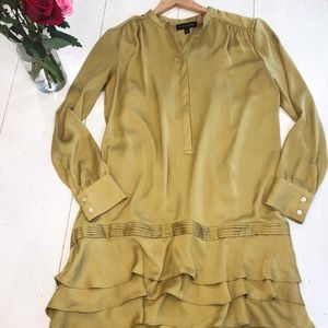 BANANA REPUBLIC olive green ruffle dress-sz 6